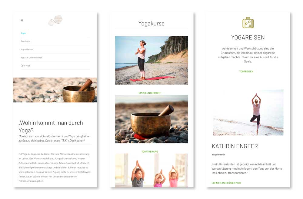 Yoga Gesundheitspraxis Website - mobil