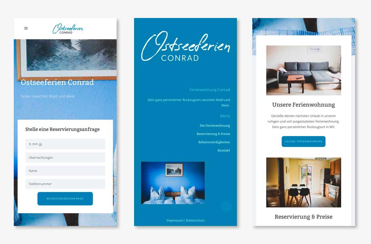 Ostseeferien Conrad Website mobil